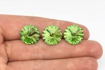 Peridot Swarovski Crystal Faceted Rivoli Rhinestone - Silver Foil Back 1122