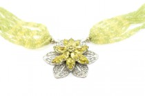 Peridot & Swarovski Crystal Multi Strand Necklace with Flower Pendant