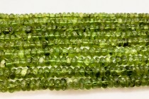 Peridot (Natural) Smooth Rondelle Gemstone Beads