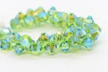 Peridot AB2x Swarovski Crystal Top Drilled Bicone Pendants 6301