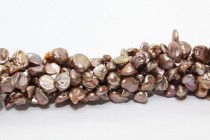 Keshi / Top Drilled Petal Freshwater Pearl - Bronze - Brown ,Light  (Dyed ) 6x7mm-8x10mm