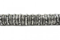 Pewter Beaded Rondelle Spacer Beads, Big Hole - 9mm