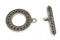 Pewter Toggle Clasp -Dots / Holes 24mm