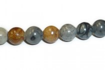Picasso Jasper (Natural) Smooth Round Gemstone Beads - Large Hole (Sale)