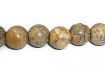 Picture Jasper (Natural) Smooth Round Gemstone Beads - Large Hole