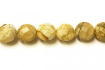 Picture Jasper (Natural) Faceted Coin Gemstone Beads with Rounded Edges
