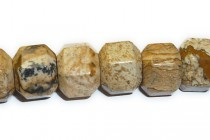 Picture Jasper (Natural) Big Hole Six Sided Drum Gemstone Beads