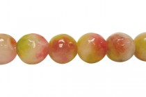 Agate (Dyed) Faceted Disco Ball Cut Round Gemstone Beads - Pink / Green,Strawberry Kiwi