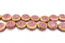 Pink Glazed Porcelain Flat Coin Beads