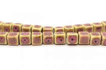 Pink Glazed Porcelain Cube Beads