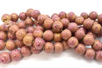 Pink Glazed Porcelain Smooth Round Beads