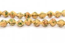 Ivory Porcelain Lantern Beads with Flowers and Chinese Characters