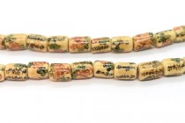Ivory Porcelain Tube Beads with Flowers and Chinese Characters