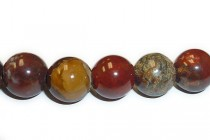 Poppy Jasper (Natural) Smooth Round Gemstone Beads - Large Hole