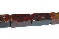 Poppy Jasper (Natural) Rectangle Gemstone Beads - Large Hole