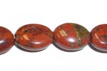 Poppy Jasper (Natural) Flat Oval Gemstone Beads