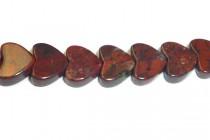 Poppy Jasper (Natural) Heart Gemstone Beads