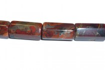 Poppy Jasper (Natural) Six Sided Tube Gemstone Beads