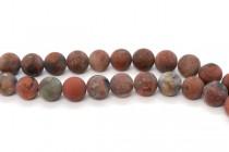 Matte Poppy Jasper (Natural) Smooth Round Gemstone Beads