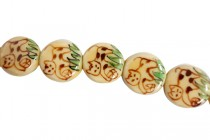 Ivory Porcelain Beads Dime - Cats