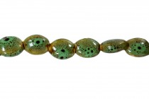 Green Porcelain Beads Flat Oval