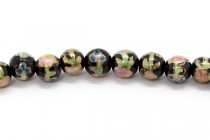 Black Floral Round Porcelain Beads with Gold Accents