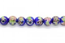 Cobalt Blue Floral Round Porcelain Beads