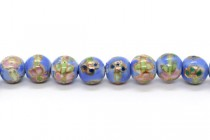 Light Blue Floral Round Porcelain Beads