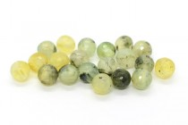Prehnite (Natural) Faceted Disco Cut Round Gemstone Beads - Large Hole