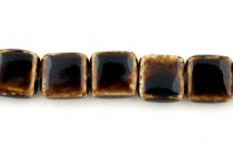 Porcelain Beads Flat Square,Brown,17mm,25 Pcs.