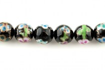 Floral Porcelain Beads Round - 12mm