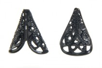 Black Gunmetal Plated Bead Caps - Filigree Cone