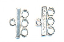 Sterling Silver Necklace Connector End Bars - Three Strand