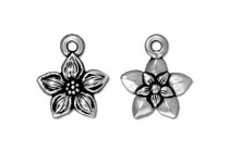 Star Jasmine Charm by TierraCast® - Antique Silver Plated Pewter