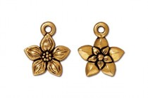 Antique Gold Plated Star Jasmine Charm - TierraCast®
