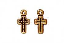 Charm, Beaded Cross , TierraCast®: , Antique Gold - plated pewter (tin-based alloy), 7.5mm.