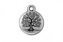 Charm, Tree Of Life, TierraCast®: ,Antique Silver - plated pewter (tin-based alloy), 15.5mm.