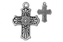 Antique Silver Plated Talavera Cross Pendant - TierraCast®