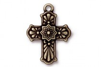 Antique Gold Plated Talavera Cross Pendant - TierraCast®