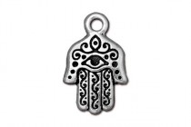 Charm, Hamsa Hand , TierraCast®: , Antique SIlver - plated pewter (tin-based alloy), 13.25mm.