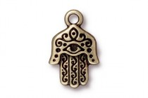 Charm, Hamsa Hand , TierraCast®: , Oxidized Brass - plated pewter (tin-based alloy), 13.25mm.