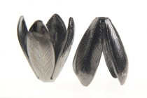 Gunmetal Plated Bead Caps - Feather Cone