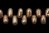 Brown (Dyed) Top Drilled Teardrop Freshwater Pearl Beads