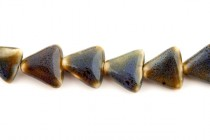 Gray & Purple Glazed Porcelain Beads - Triangle