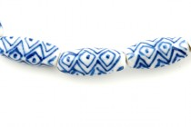 Porcelain Beads, 4 Sided Rice, Blue Willow Pattern,7x18mm