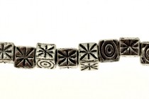 Pewter Asterisk Big Hole Cube Beads - 5mm