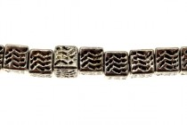 Pewter Cube Base Metal Beads - Lines