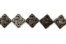 Pewter Diagonal Intertwine Beads - 7mm