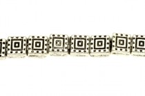 Pewter Labyrinth Square Beads - 6mm