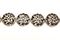 Pewter Hollow Dime Pillow Beads - 16mm